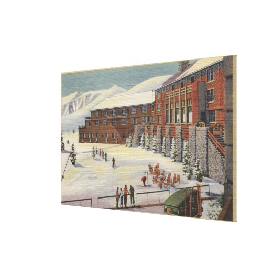 Sun Valley, ID - Ski Party at Lodge Sawtooth Canvas Print