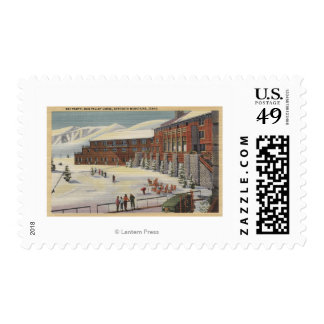 Sun Valley, ID - Ski Party at Lodge Sawtooth Postage Stamp