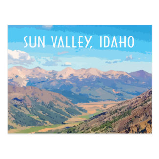 Sun Valley, Idaho, in vintage travel style Postcard