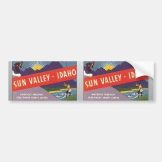 Sun Valley Idaho, vintage Pegatina De Parachoque