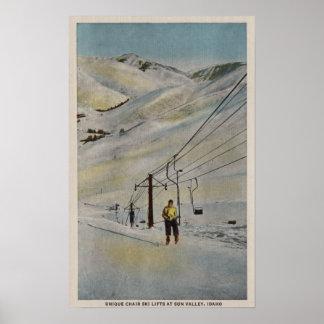 Sun Valley, IDMountain Scene, Ski Lifts in Poster