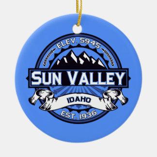 Sun Valley Logo Blue Ceramic Ornament