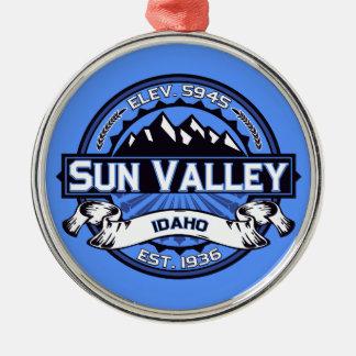 Sun Valley Logo Blue Metal Ornament