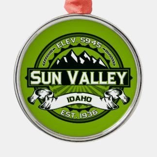 Sun Valley Logo Green Metal Ornament