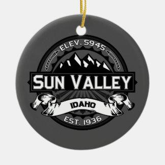 Sun Valley Logo Grey Ceramic Ornament