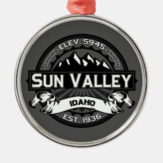 Sun Valley Logo Grey Metal Ornament