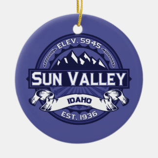 Sun Valley Logo Midnight Double-Sided Ceramic Round Christmas Ornament