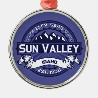 Sun Valley Logo Midnight Round Metal Christmas Ornament
