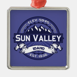 Sun Valley Logo Midnight Square Metal Christmas Ornament