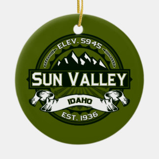 Sun Valley Logo Olive Ceramic Ornament
