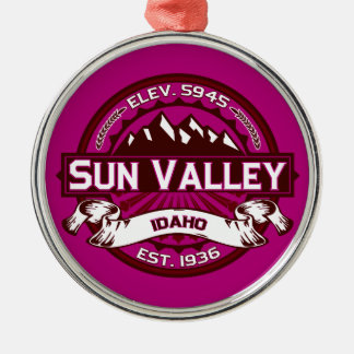 Sun Valley Logo Raspberry Metal Ornament