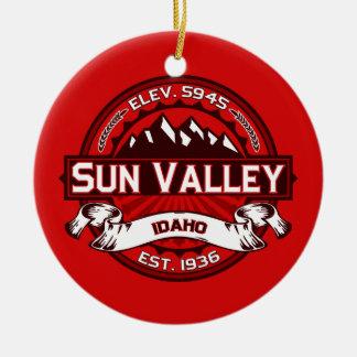 Sun Valley Logo Red Ceramic Ornament