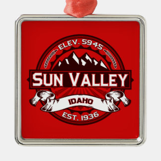 Sun Valley Logo Red Metal Ornament