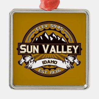 Sun Valley Logo Tan Metal Ornament