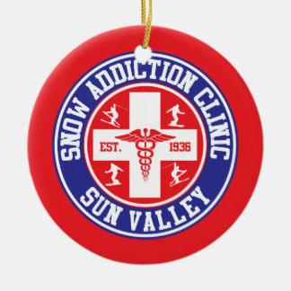 Sun Valley Snow Addiction Clinic Ceramic Ornament
