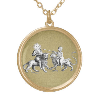 Sun vs. Moon Jousting Match Gold Plated Necklace