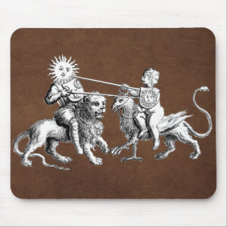 Sun vs. Moon Jousting Match Leather Mouse Pad