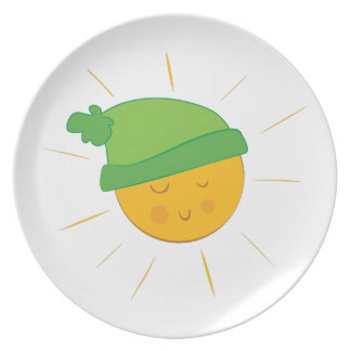 Sun Wearing Cap Party Plate