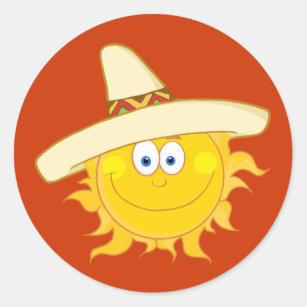 6119d23516e Sun Wearing Sombrero Classic Round Sticker