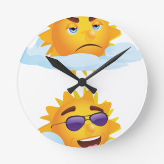 Sun with Clouds Round Clock