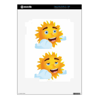 Sun with Different Emotions2 Decal For The iPad 2