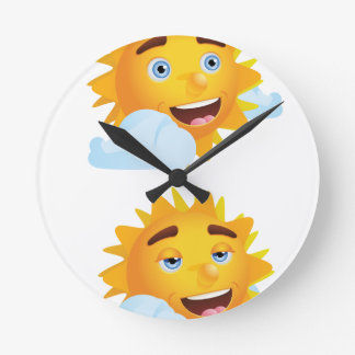 Sun with Different Emotions2 Round Clock