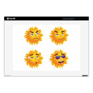 """Sun with Different Emotions 15"""" Laptop Skins"""