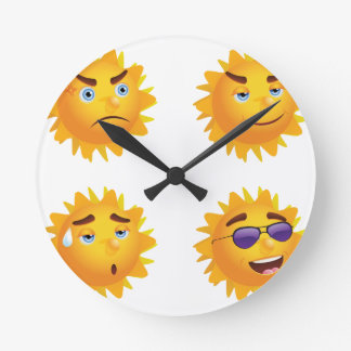 Sun with Different Emotions Round Clock