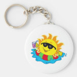 Sun with drink in water keychains