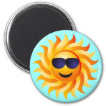 SUN WITH SHADES ON 2 INCH ROUND MAGNET