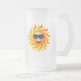 SUN WITH SHADES ON FROSTED GLASS BEER MUG