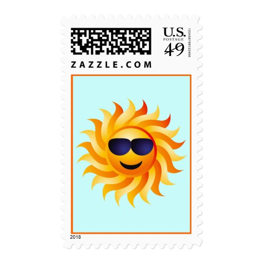 SUN WITH SHADES ON POSTAGE