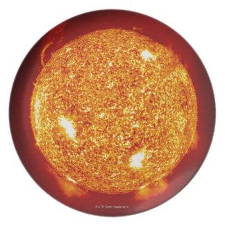 Sun with solar flares plate