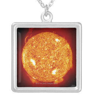 Sun with solar flares silver plated necklace