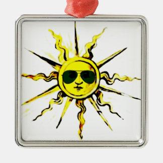 sun with sun glasses metal ornament