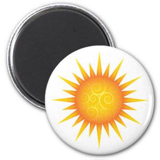 Sun with swirls 2 inch round magnet