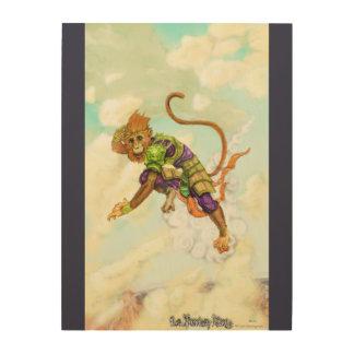 Sun Wukong on his flying cloud Wood Wall Art