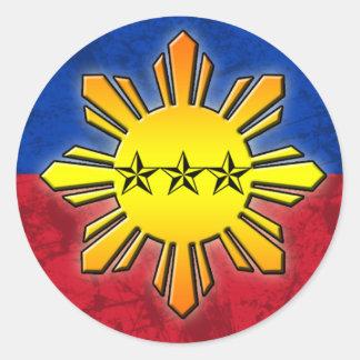 Sun y 3 estrellas pegatina redonda