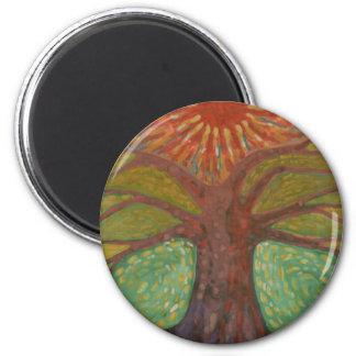 Sun y árbol imán redondo 5 cm