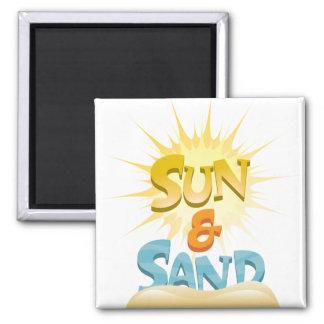 Sun y arena imán cuadrado