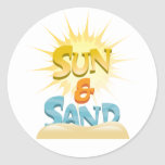 Sun y arena pegatina redonda