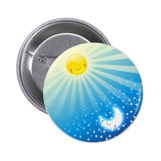 Sun y botón de la luna pin redondo de 2 pulgadas