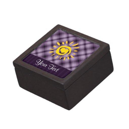 Sun y corazón lindos en la tela escocesa púrpura cajas de recuerdo de calidad