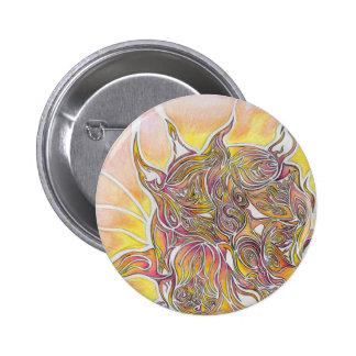 Sun y diseño abstracto del dibujo de la tierra chapa redonda 5 cm
