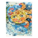 Sun y diseño caprichosos de la luna postales