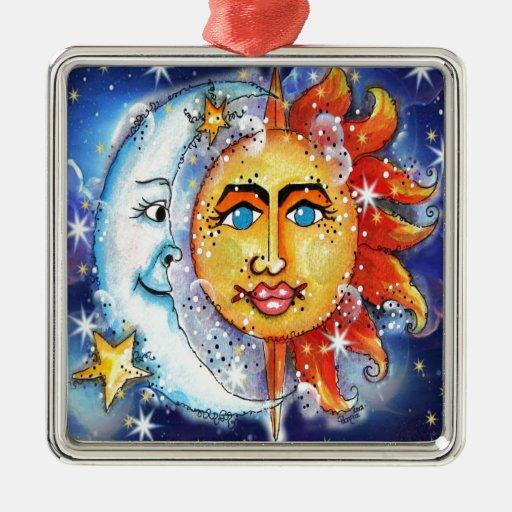 Sun y diseño celestiales de la luna adorno