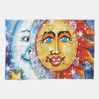 Sun y diseño celestiales de la luna toalla de cocina