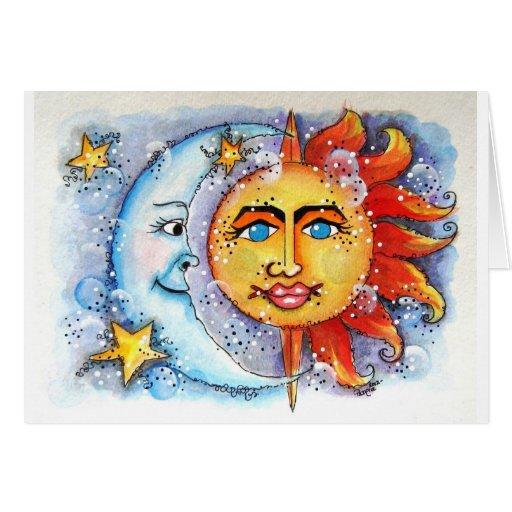 Sun y diseño de la luna felicitaciones