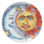 Sun y diseño de la luna platos de comidas