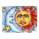 Sun y diseño de la luna postal